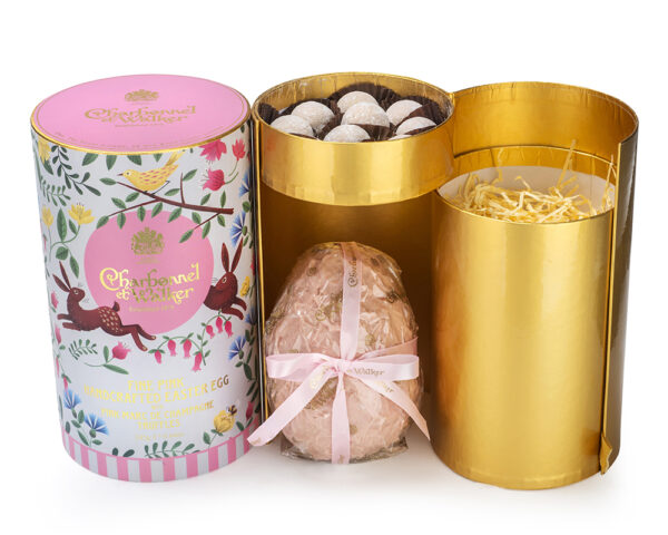 Marvellous White Chocolate Easter Egg with Pink Marc De Champagne Truffles